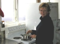 Deborah Boon at the kitchen, before the lodge fire