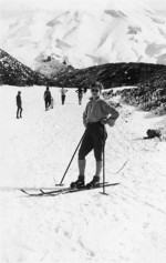 Joyce Beal; first venture on skis, on the original Curtis Ridge ski track (now the walking track to the flying fox); 1930